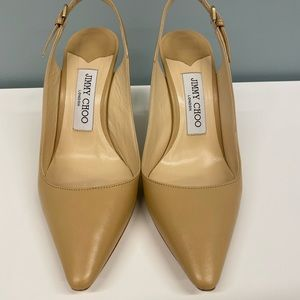 Jimmy Choo Leather Slingback Pumps in Nude